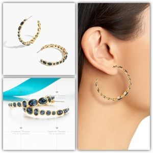 J.CREW Colorful Stone Hoop Earrings Blue